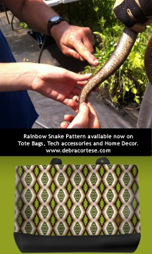 Here's the first example of the new Rainbow Snake Print on Debra's casual tote bag. Check back at www.debracortese.com for more styles and products with this design.