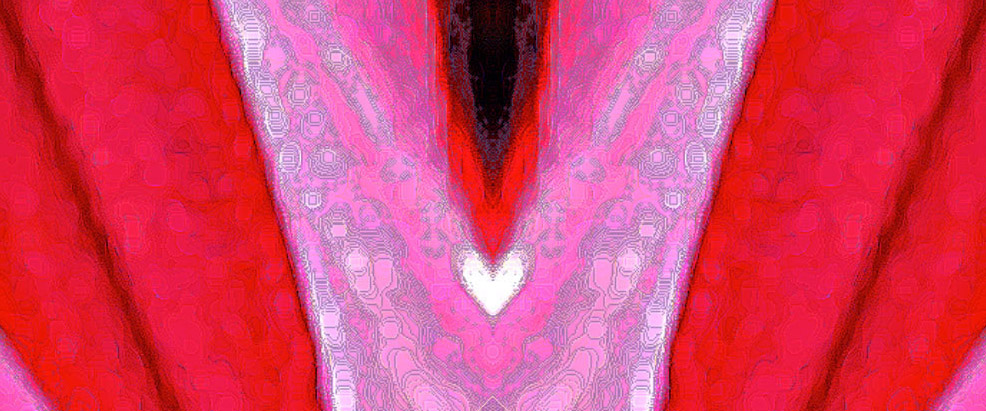 Sensous Valentine White Heart Pink & Orchid Waves - Debra Cortes