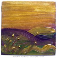 Waves of Golden Violet Twilight - expressionism painting by Debra Cortese. 6 in x 6 in acrylic on canvas. Painted with the colors of the artist's late fall view of the Delaware River and the autumn foliage along the banks of the Big Eddy in Narrowsburg, NY.