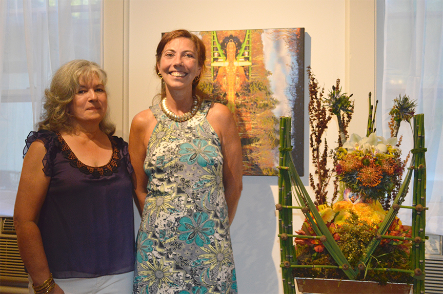 Debra Cortese and floral artist, Cecile Lamay at Art In Bloom exhibition summer 2016