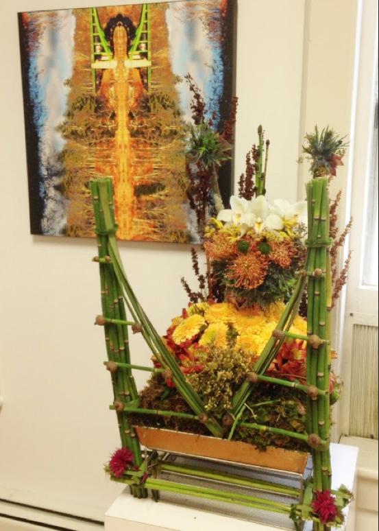Cecile's floral interpretation of Debra's Bridge Rock Totem art