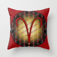 ARIES Flower of Life Astrology Design Throw Pillow by Debra Cortese Designs