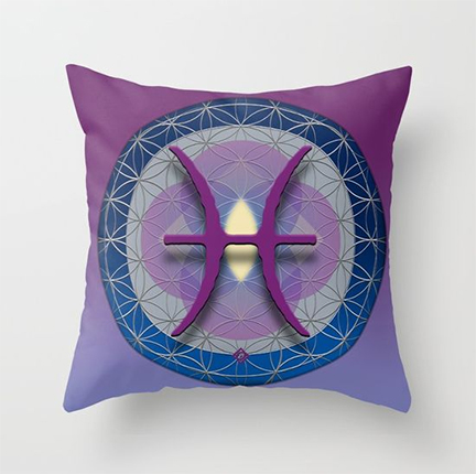 Flower of Life PISCES Astrology Design on Throw Pillow by Debra Cortese Designs