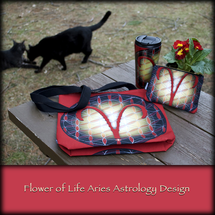 laying out Aries Tote and Travel Mug photo shoot with Squeeky and Sammy cats