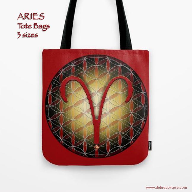 Flower of Life Astrology Design - ARIES Tote Bags by Debra Corte