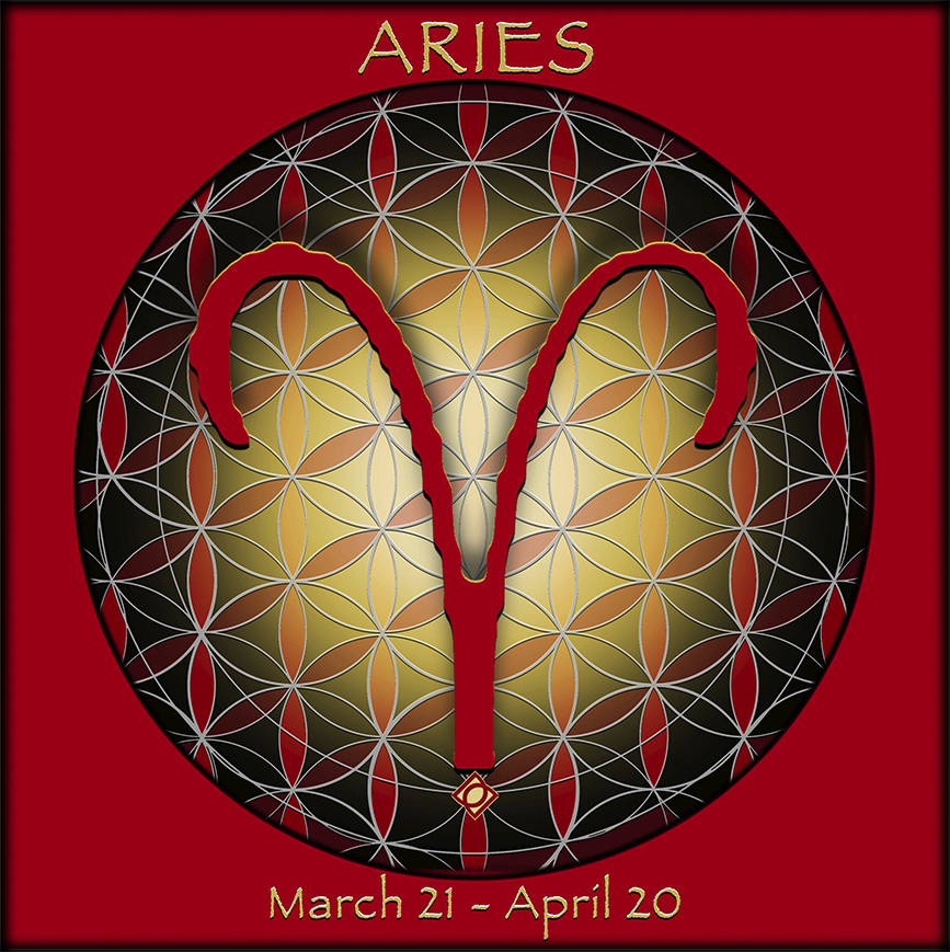 Flower of Life Astrology Design - ARIES March 21 - April 20, - Debra Cortese Designs
