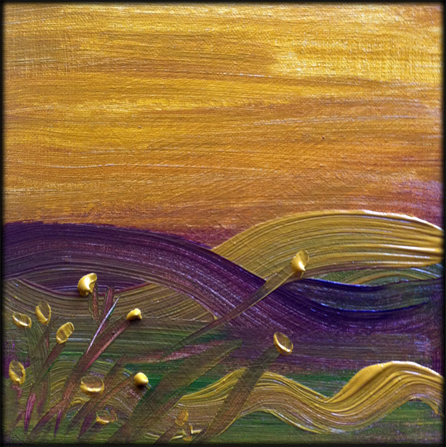 Golden Violet Waves painting - Debra Cortese