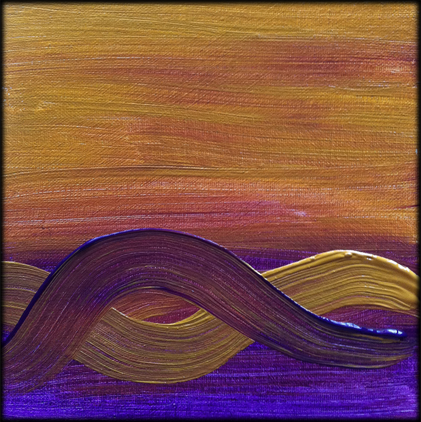 Golden Violet Waves painting_no Flowers - Debra Cortese