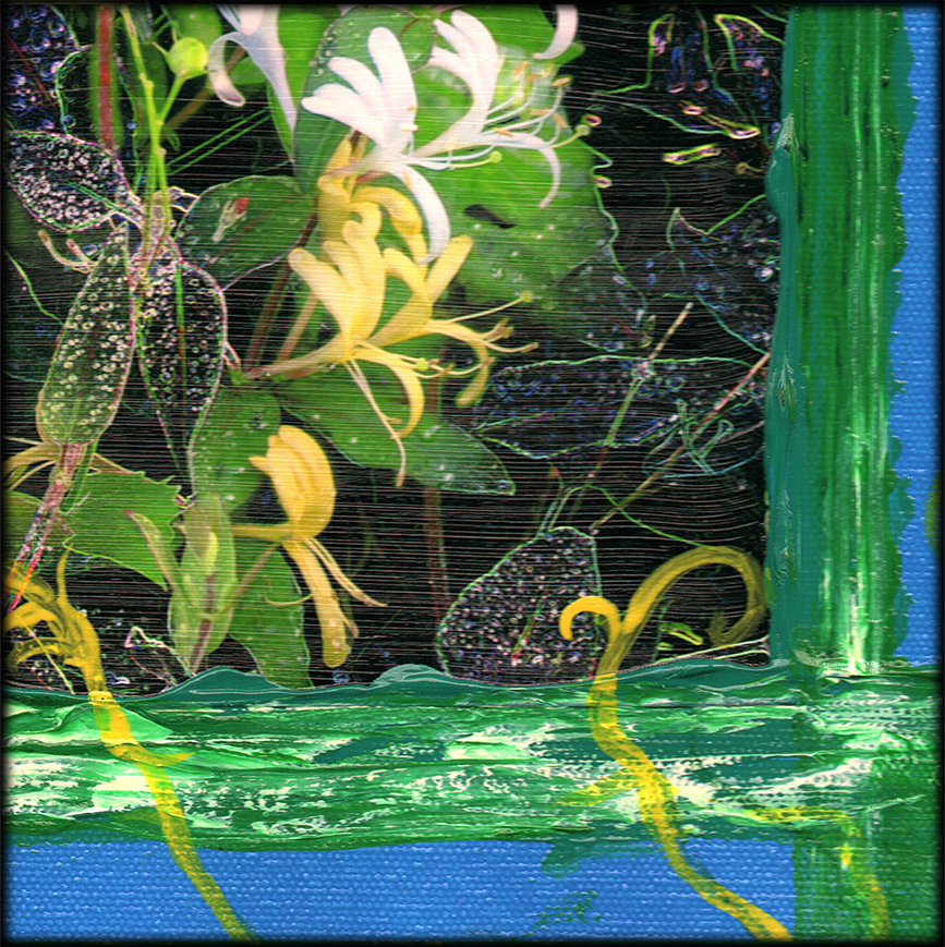 Honeysuckle Blues detail, mixed media by Debra Cortese