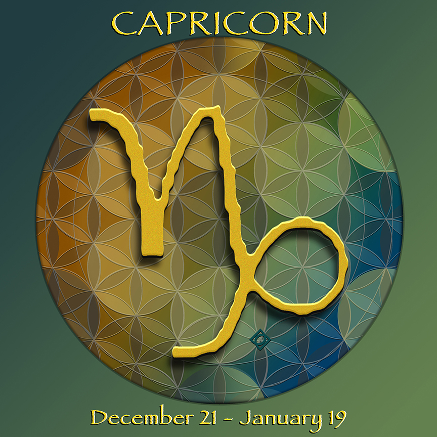 Flower of Life Astrology Design CAPRICORN December 21 - January 19 - by Debra Cortese