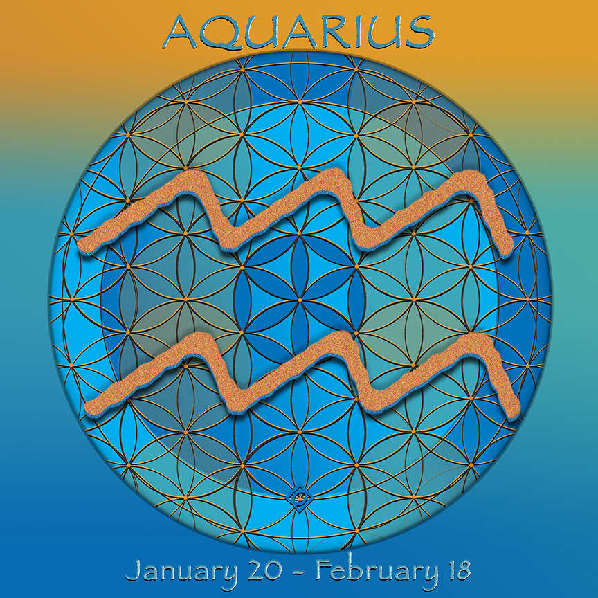 Flower of Life Astrology Design Aquarius - January 20 - February 18 - by Debra Cortese
