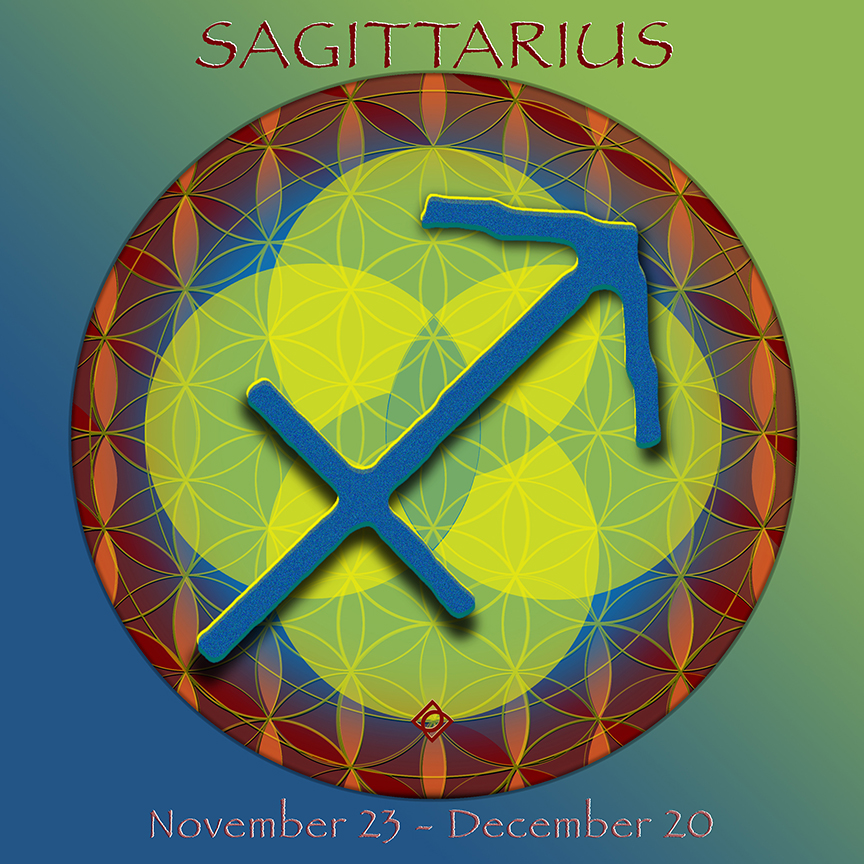Flower of Life Astrology Design SAGITTARIUS November 23-December 20 - by Debra Cortese