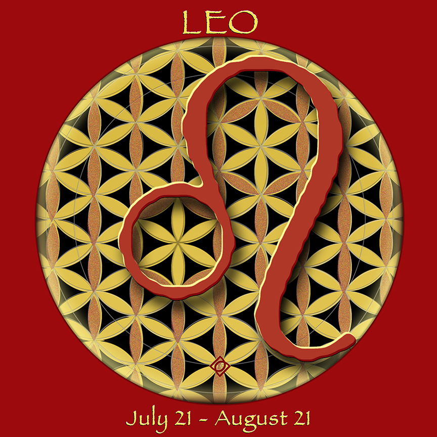 Flower of Life Astrology Design by Debra Cortese. LEO July 21 - August 21