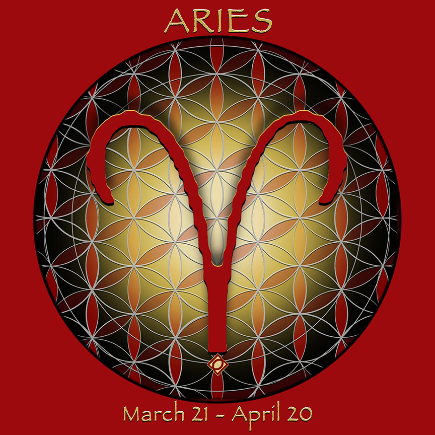 Flower of Life Astrology Design - ARIES March 21 - April 20 - by Debra Cortese