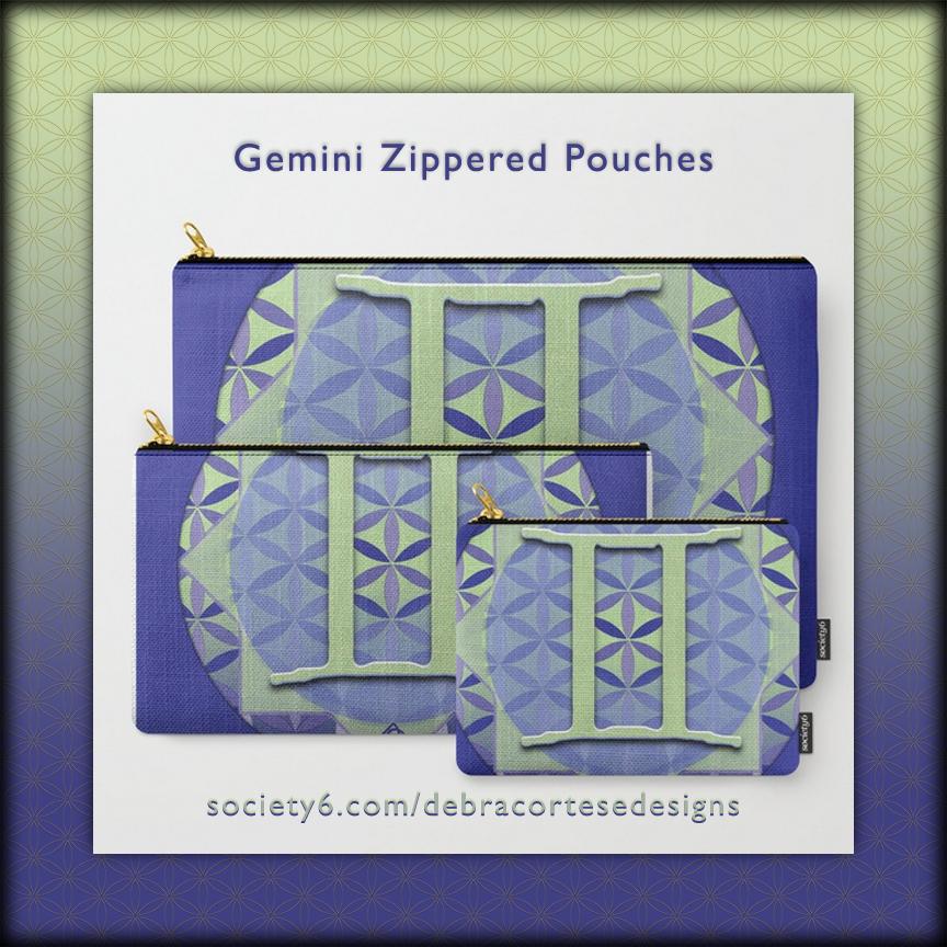 Flower of Life Gemini Design Zippered Pouches - Debra Cortese Designs