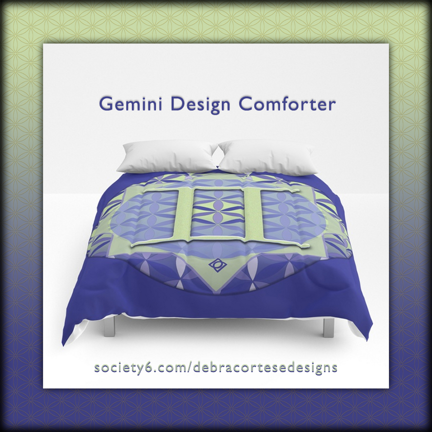 Flower of Life Gemini Astrology Design Comforter - Debra Cortese Designs