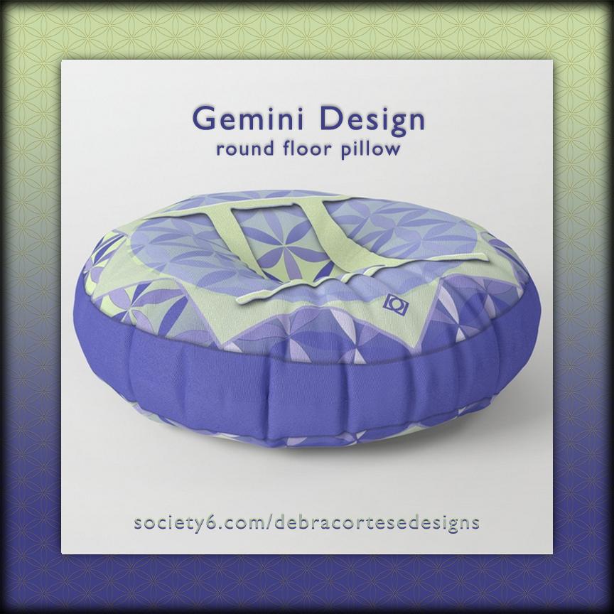Flower of Life Astrology Design Gemini Floor Pillow by Debra Cortese Designs