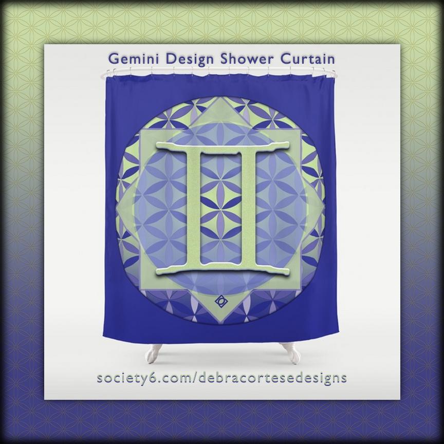 Flower of Life Gemini Astrology Design Shower Curtain - Debra Cortese Designs