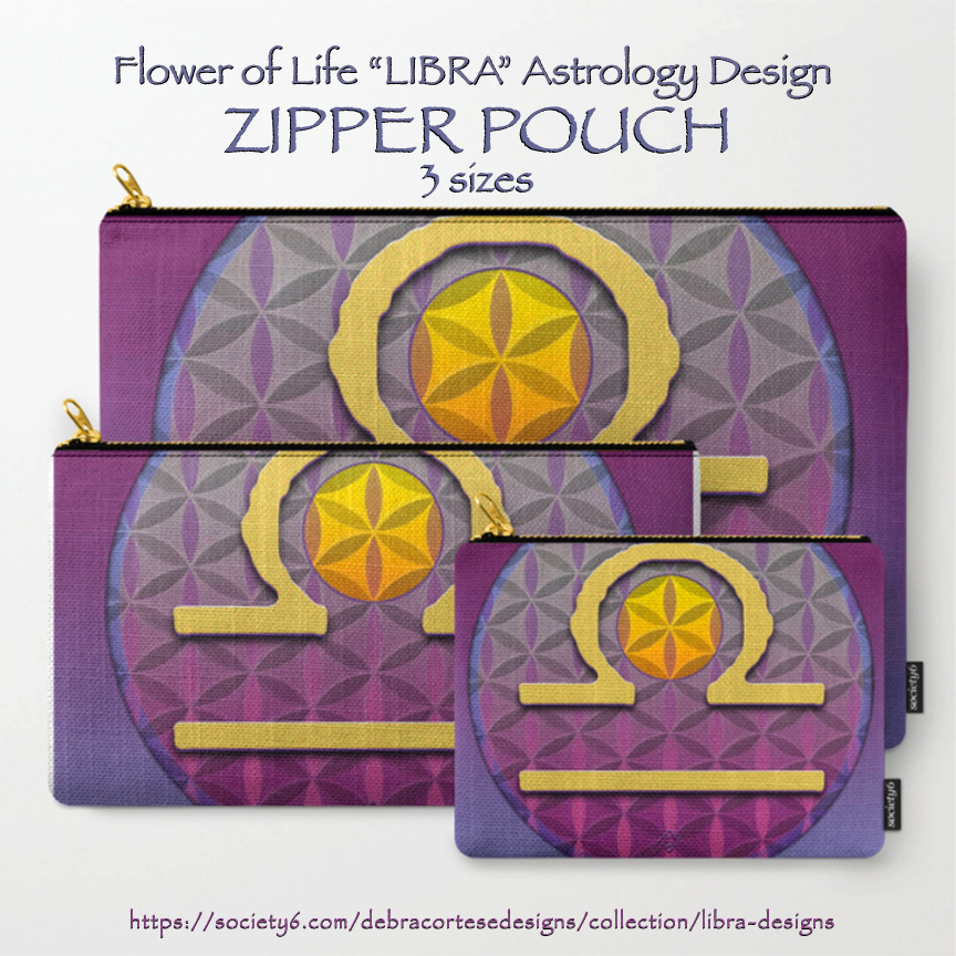 LIBRA Flower of Life Astrology Design on zippered pouches by Debra Cortese Designs