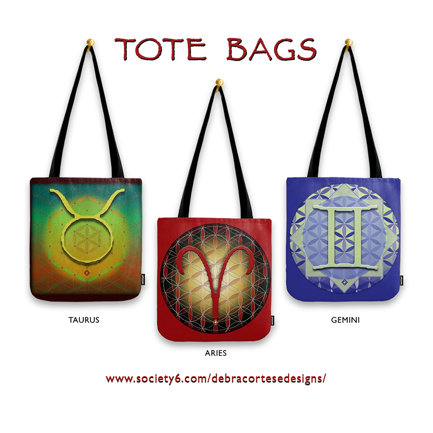 TAURUS TOTE BAGS April 21 - May 20 astrology design by Debra Cortese