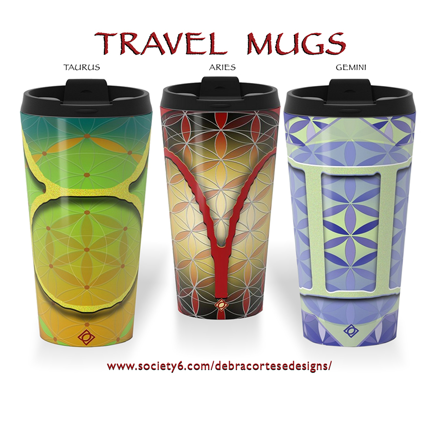 Travel Mug Flower of Life Astrology designs by Debra Cortese - May 21 - June 20