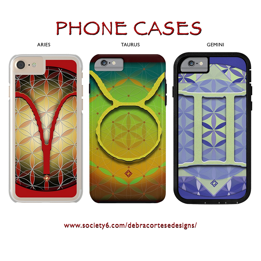 Flower of Life ARIES Astrology Design PHONE CASES- by Debra Cortese