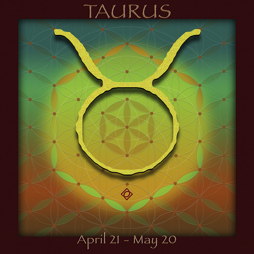 Flower of Life Astrology Design TAURUS design by Debra Cortese Designs