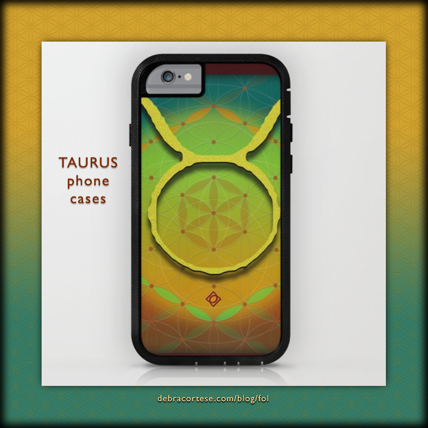 Flower of Life Astrology Design TAURUS phone cases by Debra Cortese Designs