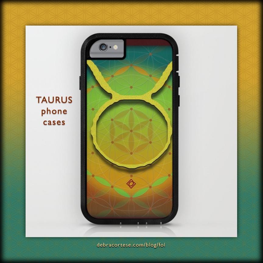 Flower of Life Astrology Design TAURUS phone cases by Debra Cortese Designs