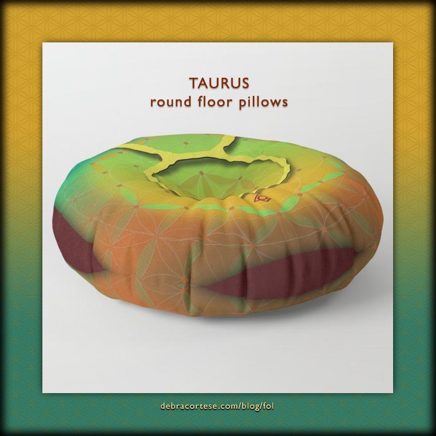Flower of Life Astrology Design TAURUS floor pillows by Debra Cortese Designs