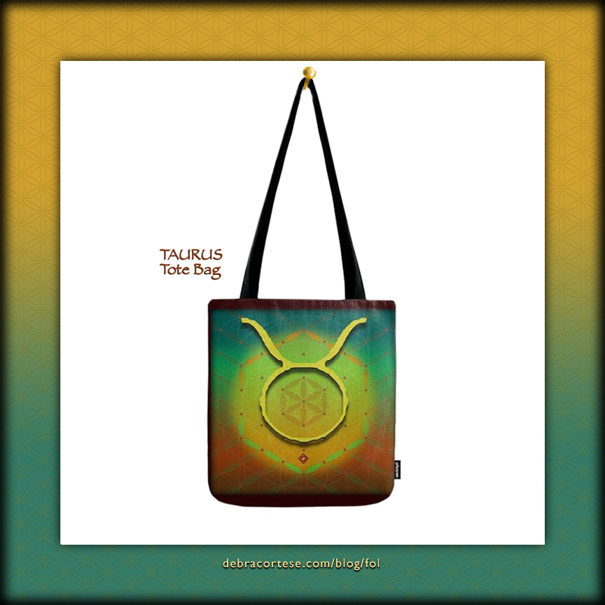 Flower of Life Astrology Design TAURUS Tote Bags by Debra Cortese Designs