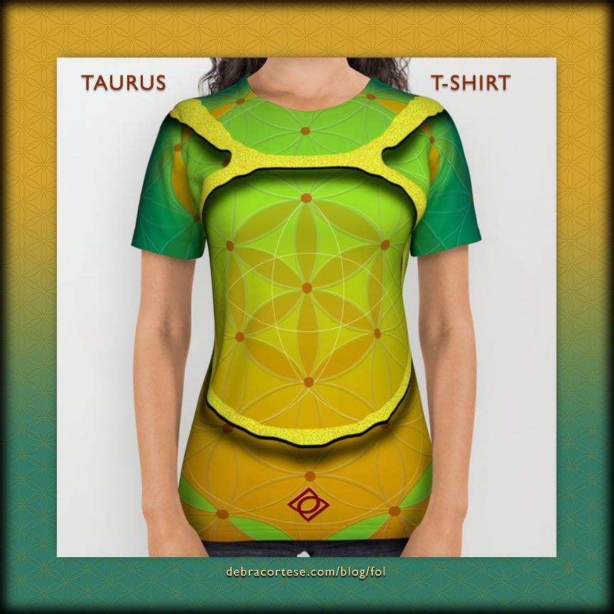 Flower of Life Astrology Design TAURUS T-Shirt by Debra Cortese Designs