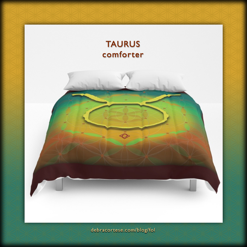 Flower of Life Astrology Design TAURUS Comforter by Debra Cortese Designs