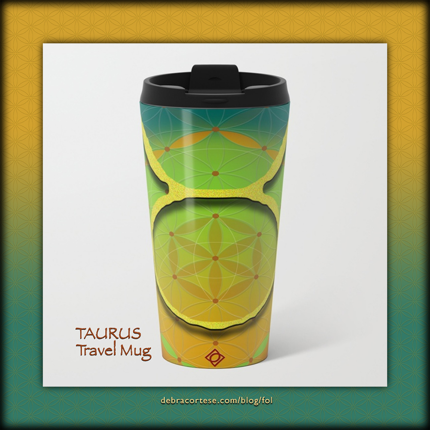 Flower of Life Astrology Design TAURUS Metal Travel Mug by Debra Cortese Designs
