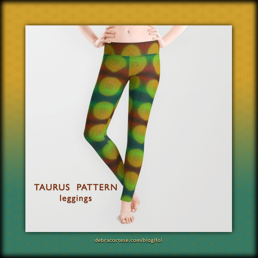 Flower of Life Astrology Design TAURUS Pattern Leggings by Debra Cortese Designs