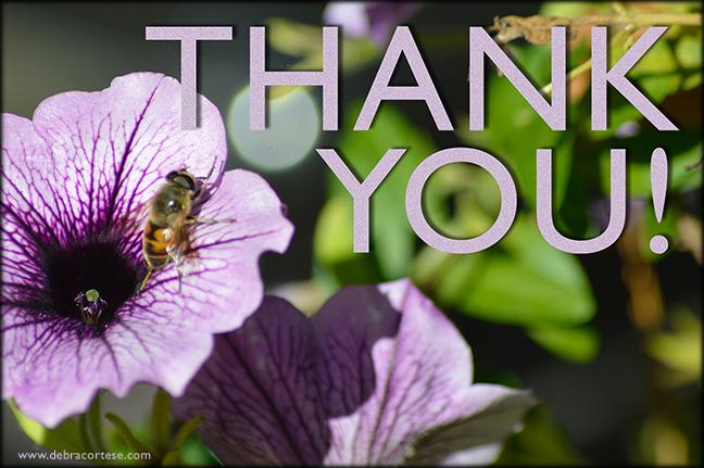 Violet Petunia HoneyBee Thank You image by Debra Cortese ©2016