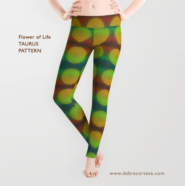 Flower of Life Taurus Pattern leggings by Debra Cortese