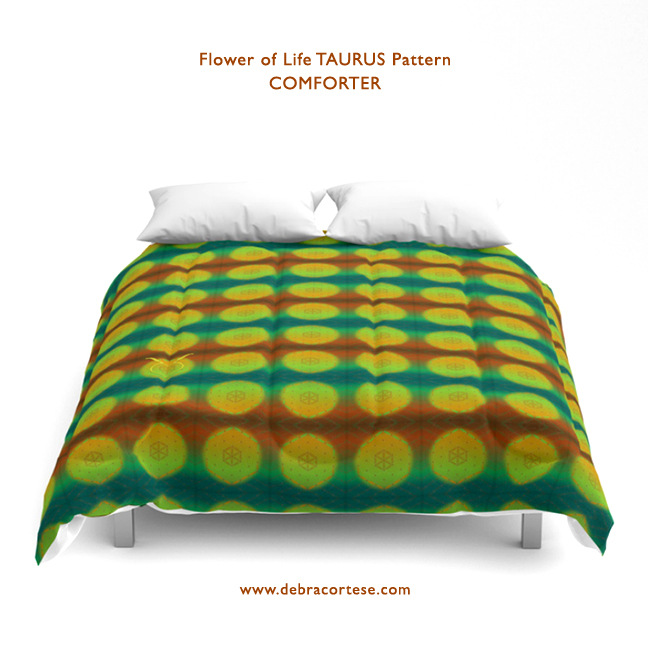 Flower of Life TAURUS pattern by Debra Cortese on Comforters and