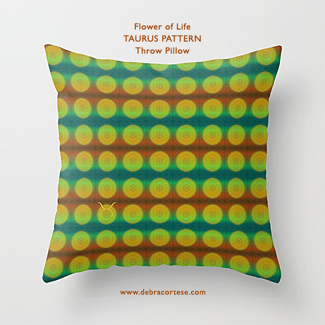 Flower of Life TAURUS Pattern by Debra Cortese on Throw Pillow