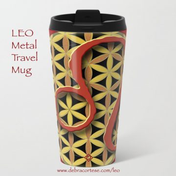 LEO sun sign design on Metal Travel Mug by Debra Cortese Designs