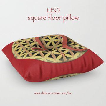 Leo sun sign design Square Floor Pillow by Debra Cortese Designs