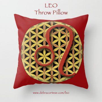 Leo sun sign design on Throw Pillow by Debra Cortese Designs