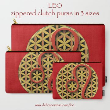 LEO sun sign zippered purse in 3 sizes by Debra Cortese Designs
