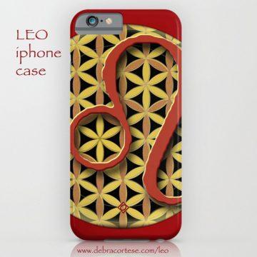 LEO sun sign design on phone cases by Debra Cortese Designs