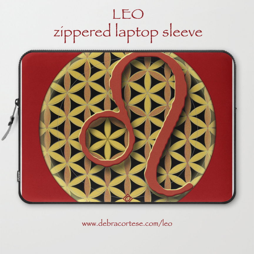 Leo sun sign design on zippered laptop sleeve by Debra Cortese Designs