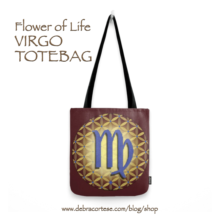 click here for details on the VIRGO Flower of Life astrology design totebag