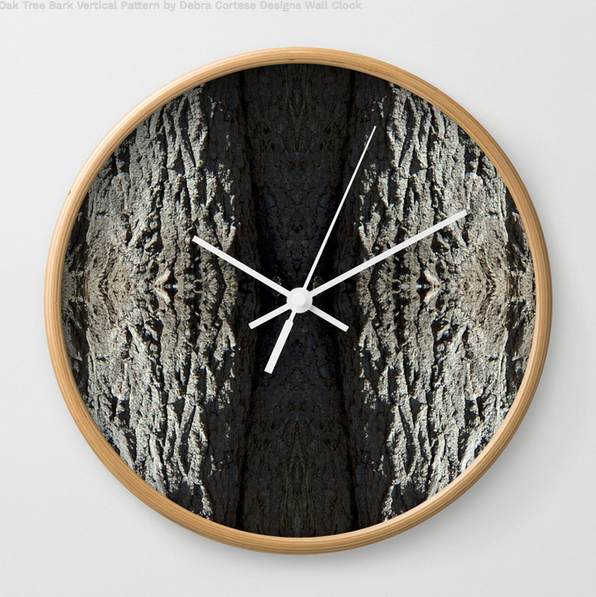 Oak Tree vertical bark pattern on Wall Clocks by Debra Cortese