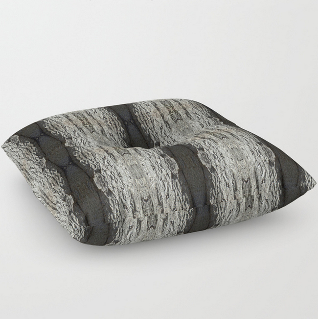 Oak Tree bark vertical pattern floor pillow by Debra Cortese