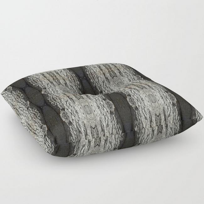 Oak Tree bark vertical pattern floor pillow by Debra Cortese