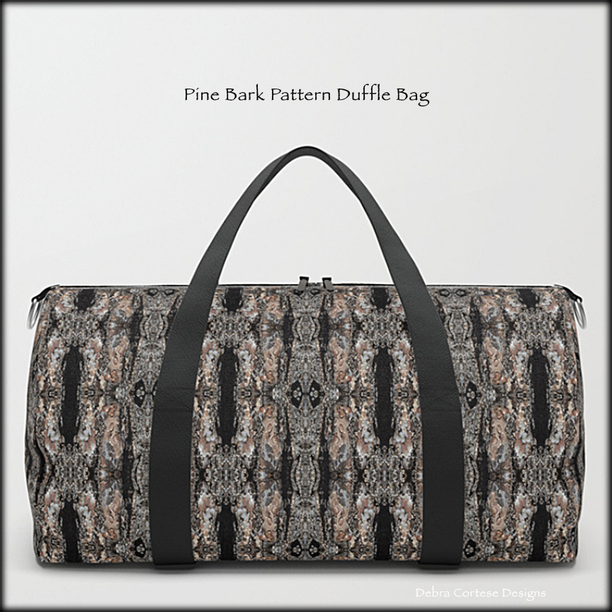 Pine Bark Pattern on Duffle Bags by Debra Cortese Designs